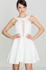 Biała Efektowna Rozkloszowana Sukienka z Transparentną Wstawką