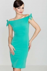 Szykowna Zielona Sukienka z Kokardkami na Ramionach