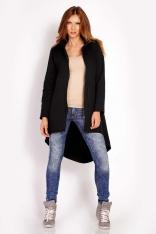 Czarna Bluza Rozpinana Asymetryczna z Kapturem