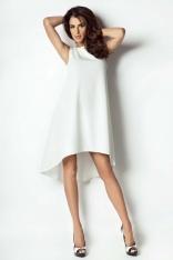 Ecru Sukienka Asymetryczna Bez Rękawków
