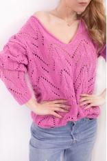 Ażurowy Sweterek w Serek - Różowy