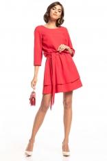 Sukienka z Rozkloszowanym Podwójnym Dołem - Malinowa