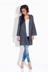 Grafitowy Sweter Długi Elegancki bez Zapięcia