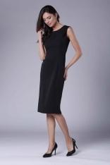 Czarna Wizytowa Ołówkowa Sukienka z Zakładką na Ramionach