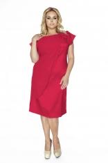 Czerwona Wieczorowa Sukienka Plus Size z Ozdobną Nakładką