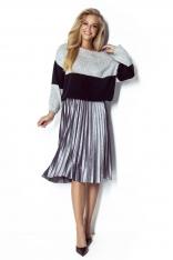 Szaro-Czarny Dwukolorowy Sweter z Bufiastym Rękawem