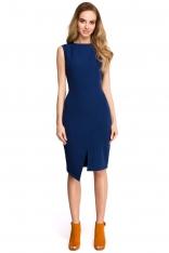 Granatowa Wyjściowa Dopasowana Sukienka z Asymetrycznym Rozporkiem