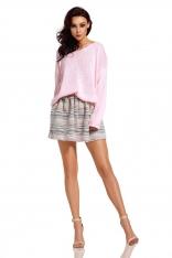 Pudrowy Oversizowy Sweter z Ozdobnym Splotem