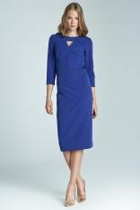 Niebieska Wizytowa Sukienka Midi z Pęknięciem przy Dekolcie