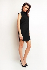 Luźna Czarna Sukienka Mini z Golfem