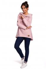 Pudrowa Asymetryczna Bluza Oversize z Kapturem