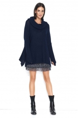 Granatowy Oversizowy Sweter z Wywijanym Golfem