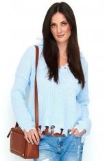 Błękitny Casualowy Oversizowy Sweter z Efektem Rozdarcia