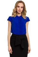 Niebieska Bluzka Koszulowa na Stójce z Ozdobną Plisą