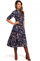 Rozkloszowana Sukienka z Dopasowaną Górą Model 2