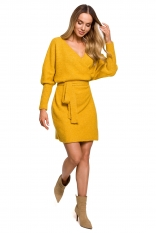 Swetrowa Mini Sukienka z Kopertowym Dekoltem - Miodowa