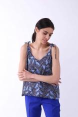 Niebieska Bluzka -Top na Cienkich Wiązanych Ramiączkach