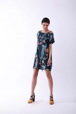 Granatowa Nowoczesna Sukienka na Krótki Rękaw