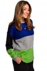 Klasyczny Sweter w Kolorowe Pasy - Model 3