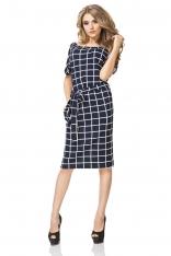 Sukienka Prosta Midi z Geometrycznym Wzorem - Wafelek