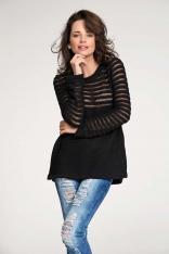 Czarny Sweter z Transparentnymi Paskami