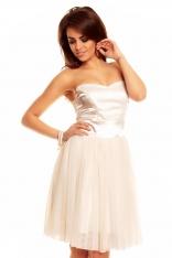 Gorsetowa Kremowa Sukienka z Tiulową Spódnicą