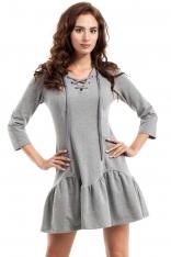 Szara Sukienka Sznurowana przy Dekolcie