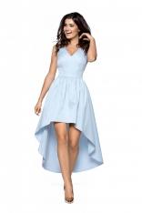 Niebieska Wieczorowa Sukienka z Wydłużonym Tyłem
