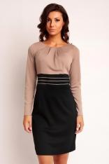 Beżowo-czarna  Dwukolorowa Elegancka Sukienka z Zakładkami przy Dekolcie z Długim Rękawem