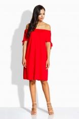 Czerwona Sukienka z Dekoltem Typu Carmen