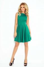 Zielona Sukienka Rozkloszowana bez Rękawów z Dekoltem w Łódkę
