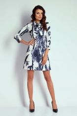 Kwiatowa Wizytowa Taliowana Sukienka z Wiązaniem