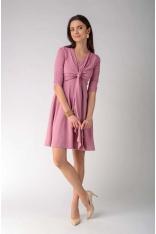 Jasnoróżowa Rozkloszowana Dwuwarstwowa Sukienka z Marszczonym Rękawem