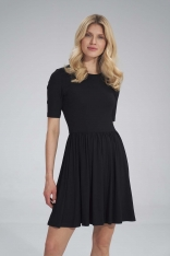 Krótka Wiskozowa Sukienka na Lato - Czarna