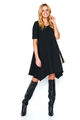 Czarna Luźna Asymetryczna Sukienka Dzianinowa