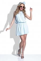Błękitna Sukienka w Groszki z Wiązanym Paskiem