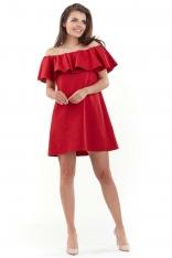 Czerwona Wyjściowa Sukienka Mini Typu Hiszpanka