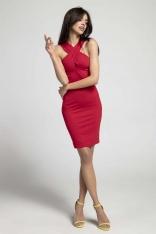 Czerwona Sukienka Bodycon z Przekładanym Dekoltem