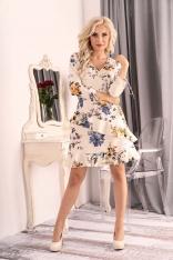 Sukienka Kopertowa w Kwiaty z Falbankami
