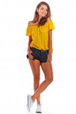 Żółta Letnia Bluzka z Hiszpańskim Dekoltem