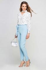 Błękitne Spodnie Cygaretki z Wiązaną Szarfą