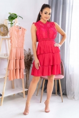 Koronkowa Sukienka z Plisowanym Dołem - Malinowa
