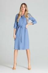 Sukienka Koszulowa z Podpinanym Rękawem - Niebieska