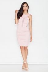 Różowa Elegancka Sukienka z Transparentnym Panelem