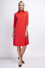Czerwona Wizytowa Sukienka Trapezowa z Falbanką