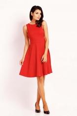 Czerwona Wyjściowa Rozkloszowana Sukienka z Wycięciem na Plecach