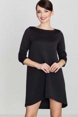 Czarna Asymetryczna Sukienka Pikowana