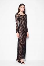 Sukienka Wieczorowa Maxi z Czarnej Koronki