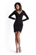 Czarna Kopertowa Sukienka Wyjściowa z Asymetrycznym Dołem