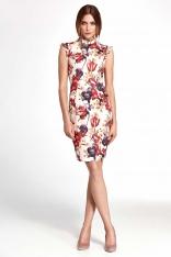 Kwiatowa Dopasowana Sukienka z Falbankami na Ramionach